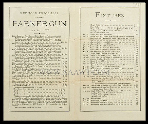 Parker Gun Four Page Fold over Promotion and Price List, Parker Shotguns