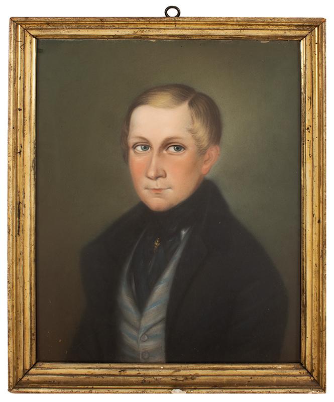 Pastel Portrait of Boy Anonymous, German School,  19th Century