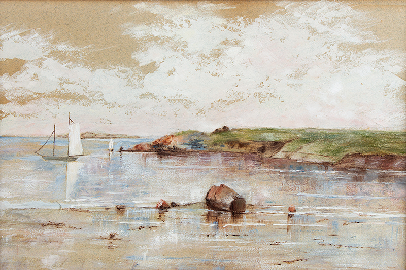 Vintage Pastel on Paper, Summer Sailboats – Tidal Landscape  Unsigned, Early 20th Century, sans frame