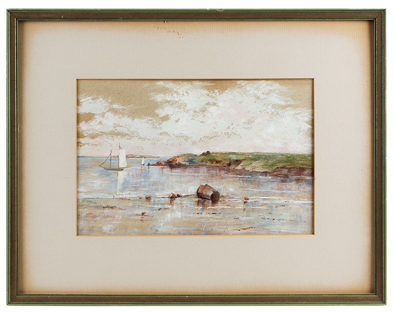 Vintage Pastel on Paper, Summer Sailboats – Tidal Landscape  Unsigned, Early 20th Century, entire view