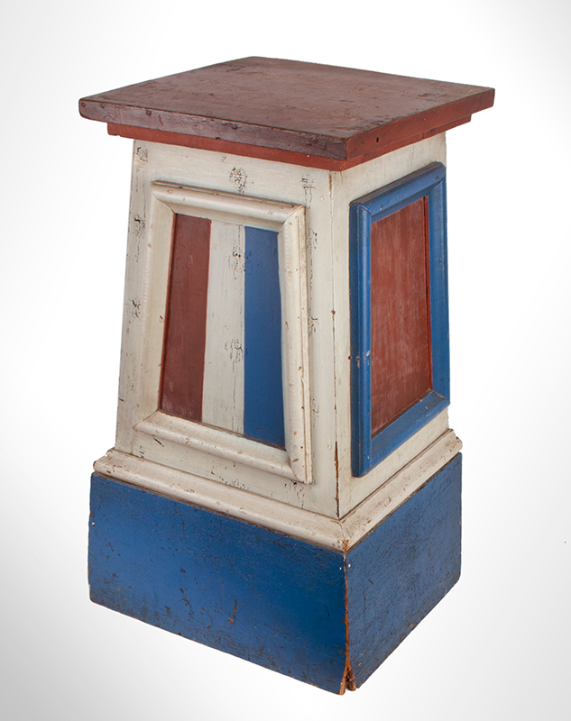 Antique Pedestal, Original Red, White & Blue Paint    American, 3rd Quarter of 19th Century