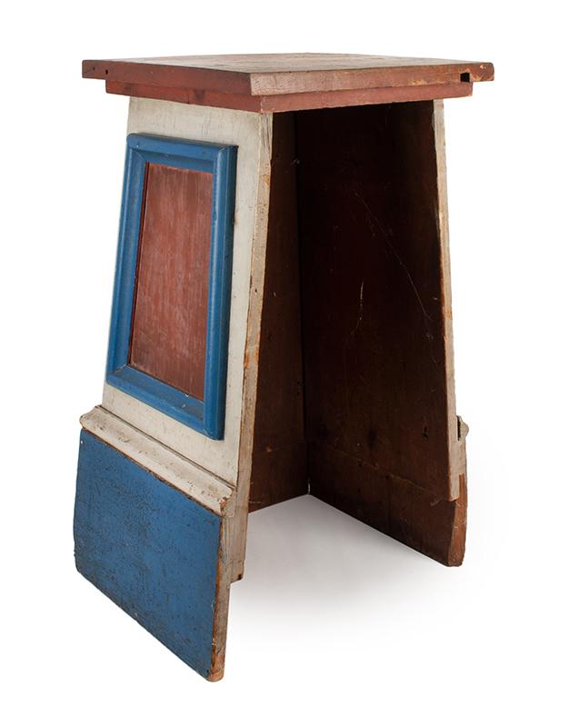 Antique Pedestal, Original Red, White & Blue Paint American, 3rd Quarter of 19th Century