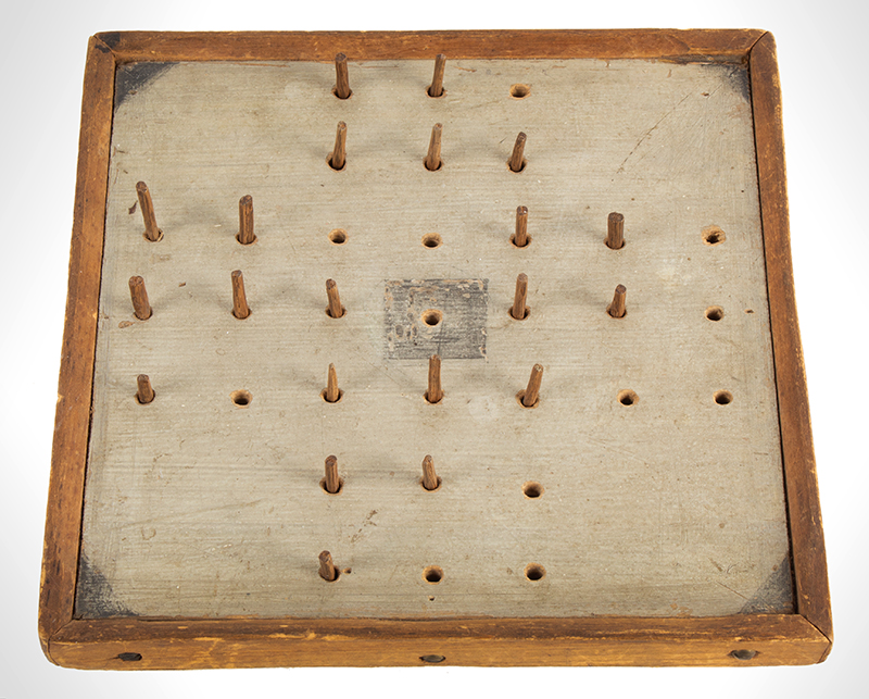 Peg Solitaire Board, Pegboard Game, Small Board, Original Painted Board Vintage