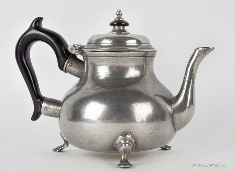 Antique Pewter, Dadley & Pitt, Teapot,<br> Queen Anne Footed Form, Low Dome