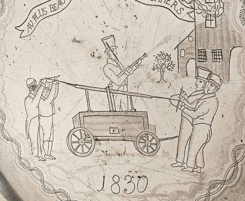 Antique Pewter Charger, Volunteer Firemen, Handtub, Burning Building TO THE BEST OF THE CHEVALIER FIREMEN, 1830 AU PLUS BEAUCOUPDES CHEVALIERS POMPIERS, detail view 1