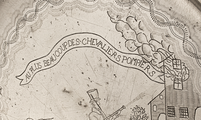 Antique Pewter Charger, Volunteer Firemen, Handtub, Burning Building TO THE BEST OF THE CHEVALIER FIREMEN, 1830 AU PLUS BEAUCOUPDES CHEVALIERS POMPIERS, detail view 2