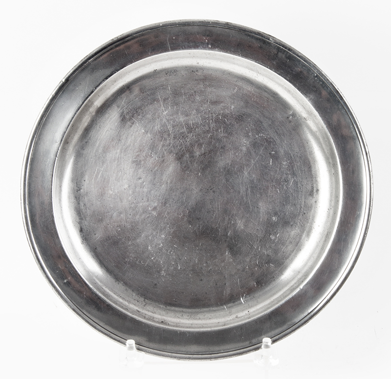 Antique American Narrow Rim Pewter Dish James Porter, Connecticut Valley & Baltimore (1795-1803), entire view