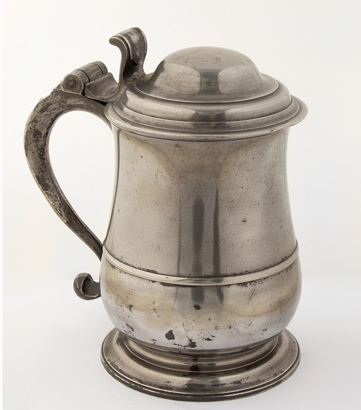 Antique Pewter, Quart Tankard, Tulip, Dome Lid By William Charlesley, London, (1729-1764), entire view