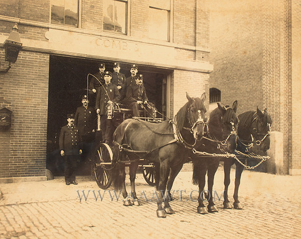 Photo, 19th Century Horse Drawn Apparatus, Firemen, Fire Station, Gamewell Box