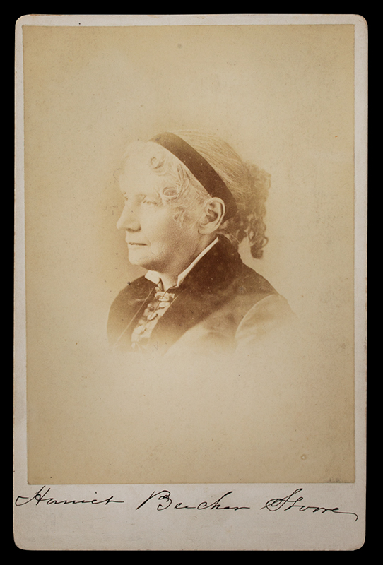 Harriet Beecher Stowe Autographed Cabinet Photograph, Author of Uncle Tom's Cabin 1880's, entire view