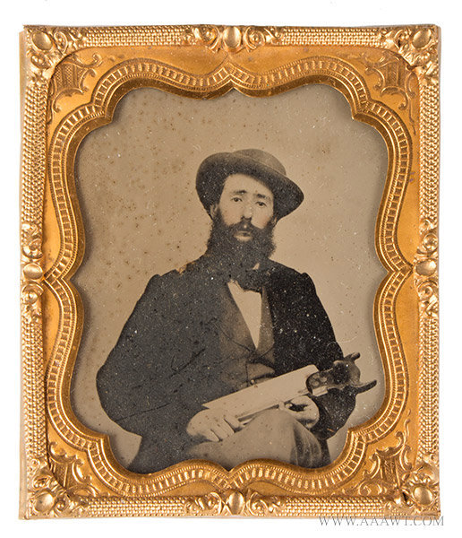 Ambrotype, Sixth Plate, Man with Saw, Occupational Photograph Anonymous, 19th Century, entire view