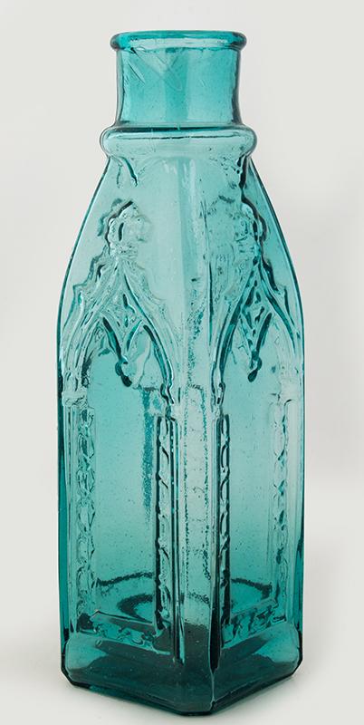 Antique Pickle Jar, Bottle, Cathedral, Deep Aqua-Green Circa 1860-1880, entire view