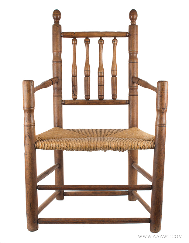 American Pilgrim Century Great Chair, Turned Carver Armchair, Circa 1665, entire view