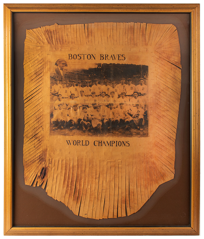 Baseball, 1914 Boston Braves World Champion Leather Pillowtop with Sharp Image Exceptional Underwood & Underwood Silver-Gelatin Photograph, entire view