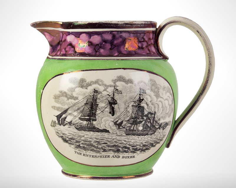 War of 1812 Commemorative Jug Decorated for American Market, Naval Battles 'The Enterprise and Boxer' and 'The United States and Macedonian' Bentley, Wear and Bourne of Shelton, Staffordshire, England, circa 1814-1822, entire view 1
