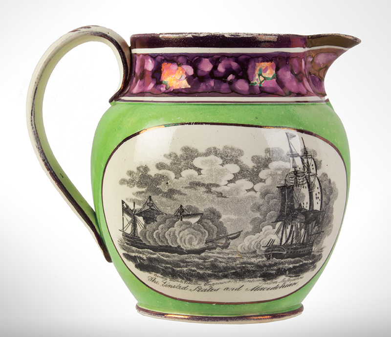 War of 1812 Commemorative Jug Decorated for American Market, Naval Battles 'The Enterprise and Boxer' and 'The United States and Macedonian' Bentley, Wear and Bourne of Shelton, Staffordshire, England, circa 1814-1822, entire view 2