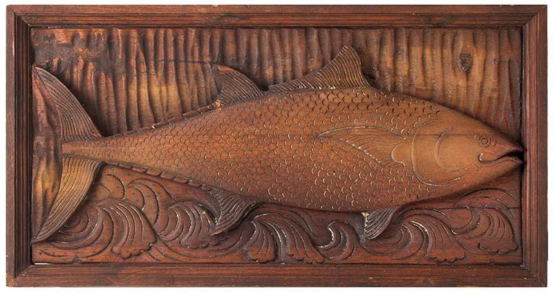Antique, Carved Plaque, Tuna Fish  Anonymous, After Leander Plummer, Circa 1900 Ash, entire view
