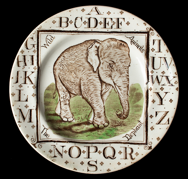 Brownhills Pottery Company, Child's ABC Plate The Elephant, circa 1880 (Rarely encountered) Tunstall, Staffordshire, England Circa 1872-1896, entire view