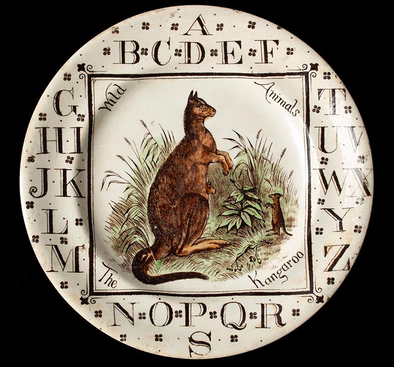 Brownhills Pottery Company, Child's ABC Plate The Kangaroo, circa 1880 (Scarce) Tunstall, Staffordshire, England Circa 1892, entire view