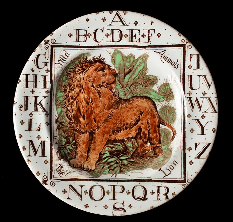 Brownhills Pottery Company, Child's ABC Plate Wild Lion, circa 1880 (Scarce) Tunstall, Staffordshire, England Circa 1892, entire view