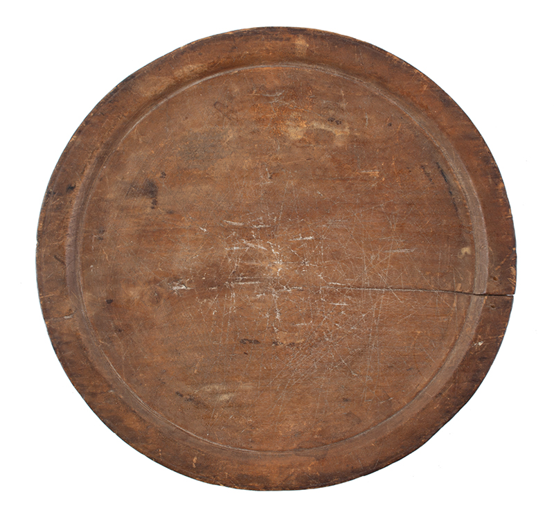 Antique Treen Dish, Trencher, Large Wooden Plate New England, Circa 1770-1800, entire view