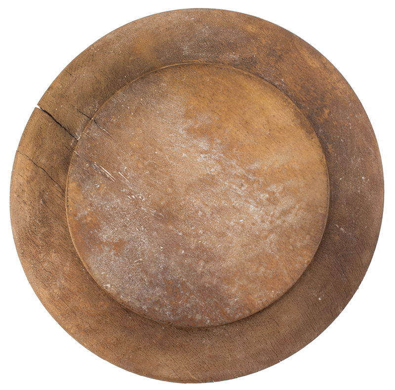 Antique Treen Dish, Trencher, Wooden Plate New England, Circa 1770-1800, back view