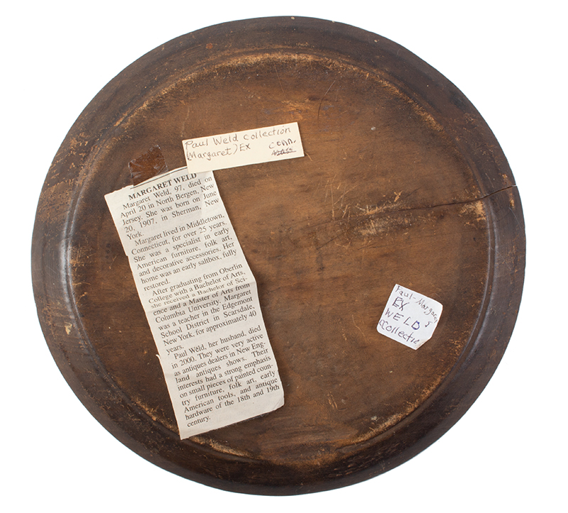 Antique Treen Dish, Trencher, Large Wooden Plate New England, Circa 1770-1800, back view