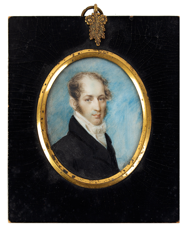 Fine Miniature Portrait, Signed – WILLIAMS, 1819 Watercolor on Ivory, entire view