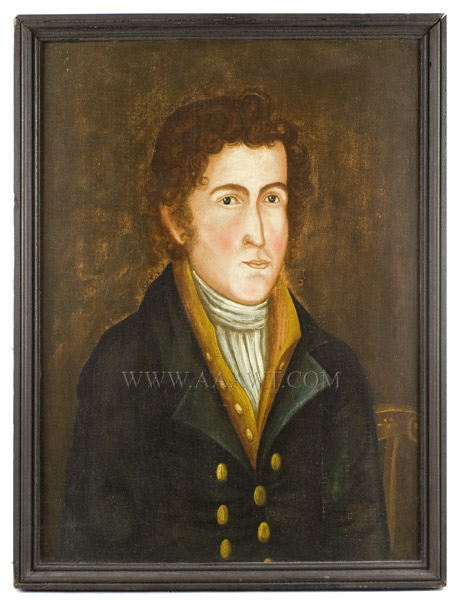Antique American Folk Art, ASAHEL LYNDE POWERS, Portrait of Young Man        Probably Vermont, Circa 1825        Oil on poplar board, original frame, entire view