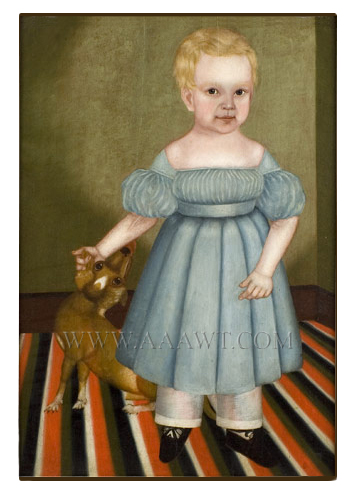 Antique Folk Art Portrait, Full Length Child with Dog, Floor Cloth  James Burroughs, Age 17 Mos. by M. Burroughs, Circa 1830s  Oil on whitewood panel, original frame, entire view