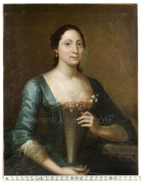 Joseph Blackburn, Portrait, Lady in Blue, scale view
