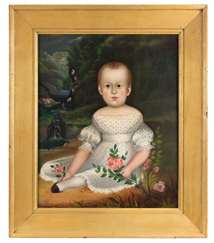 Folk Art Portrait, Child in White Dress Seated in Landscape with Waterfalls Unidentified, circa 1830-1840's, entire view