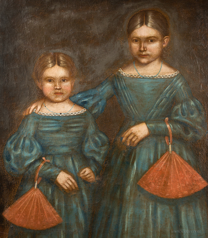 Erastus Salisbury Field, Full Length Portrait, The Smith Sisters Amherst, Massachusetts, Circa 1840, entire view sans frame