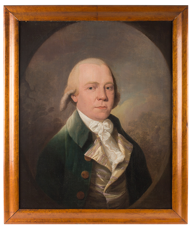 Eighteenth Century Portrait of Gentleman, Green Waistcoat Anonymous, English School Oil on canvas, original stretcher, feigned painted oval, entire view