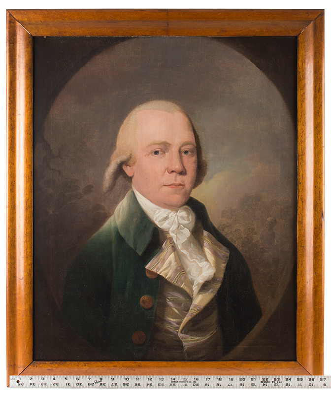 Eighteenth Century Portrait of Gentleman, Green Waistcoat Anonymous, English School Oil on canvas, original stretcher, feigned painted oval, scale view