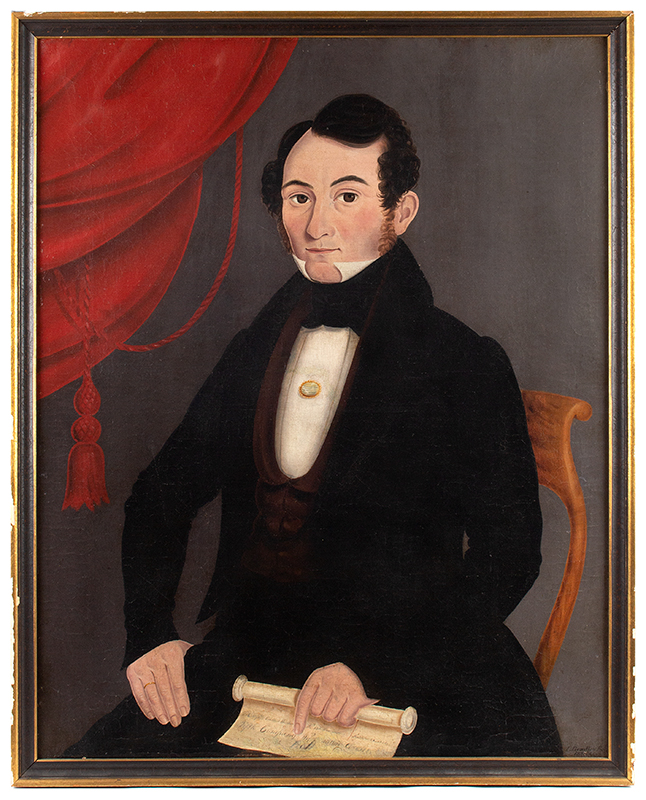 John Bradley, Portrait of Seated Gentleman Holding Scroll, Signed Lower Right, entire view