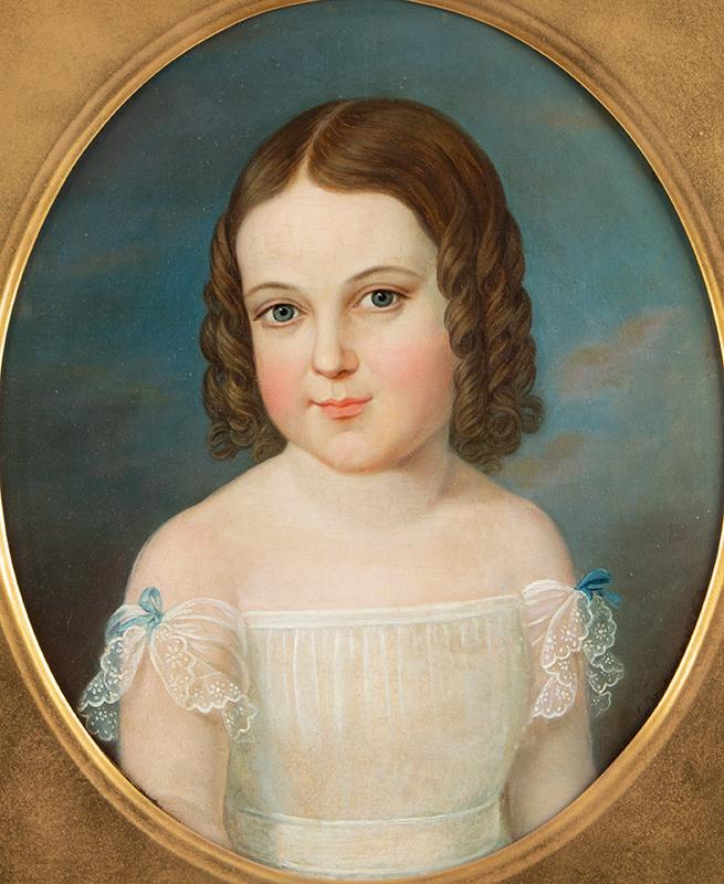 John Bradley, Portrait of Little Girl, Porthole Format, Signed John Bradley, N.Y., Active in NYC Environs 1832-1847