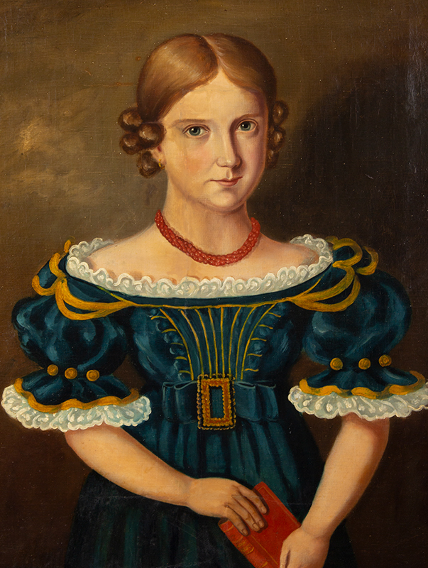 Antique Folk Portrait, Young Girl, Blue Dress, Red Book and Coral Necklace Anonymous, 19th Century, entire view sans frame