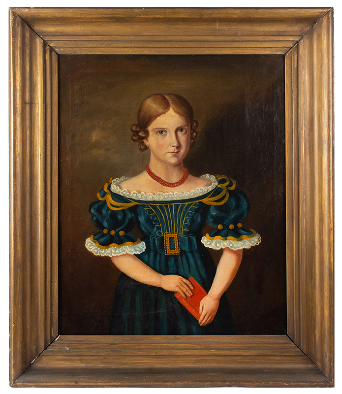 Antique Folk Portrait, Young Girl, Blue Dress, Red Book and Coral Necklace Anonymous, 19th Century, entire view