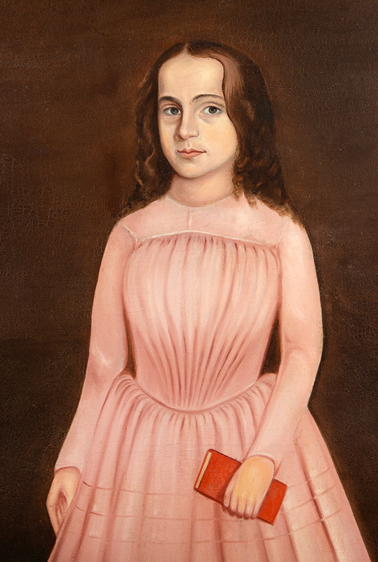 Folk Portrait of a Girl in a Pink Dress Holding a Red Book, Full-length    American School, Painted about 1840, entire view
