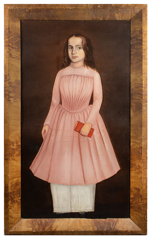 Folk Portrait of a Girl in a Pink Dress Holding a Red Book, Full-length    American School, Painted about 1840, frame view