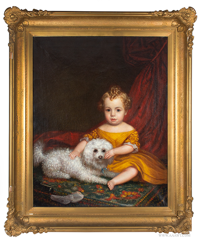 Portrait of Infant with Dog Seated on Carpet Anonymous, American School ,