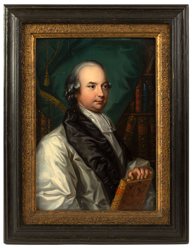 Eighteenth Century Portrait of Dr. Thomas Drummons Anonymous, Likely Scottish or English Oil on panel, appropriately framed by Perry Hoph, entire view