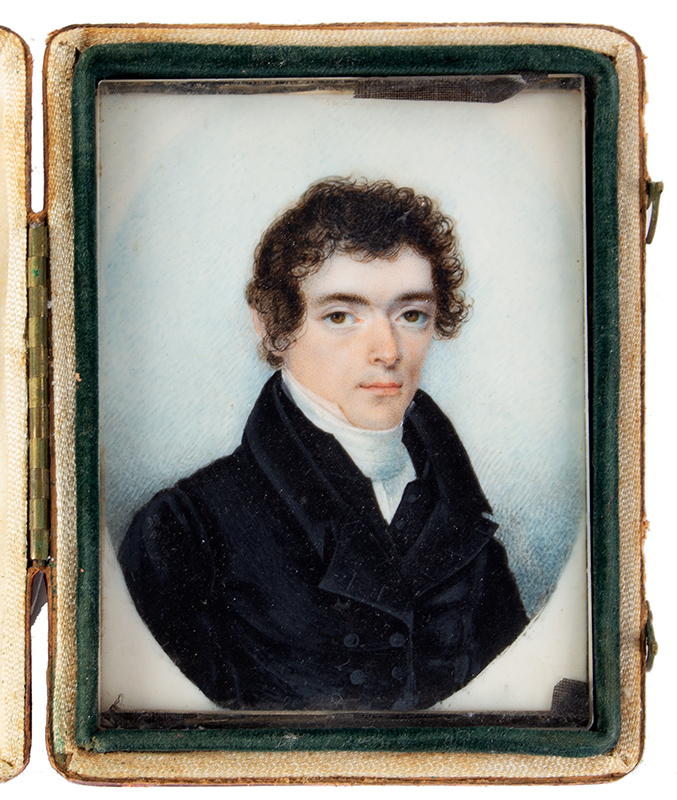 Fine Miniature Portrait, American School, Gentleman Anonymous, 1821, AE 23 (Verso dated) Watercolor on ivory within a hinged red leather case, entire view