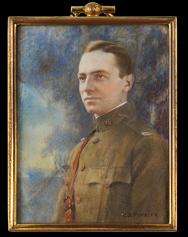 Portrait Miniature of Unknown Early 20th Century Army Officer by C. Bernard Pereira US Army Officers Tunic, Artillery Insignia, Captains bars & Light Artillery Cannons on Collar, WWI, entire view