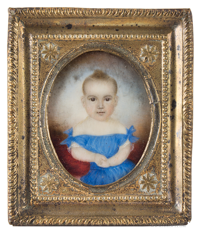 Mrs. Moses B. Russell (1809-1854) Portrait of Child in Blue Dress Mounted within a pressed brass frame