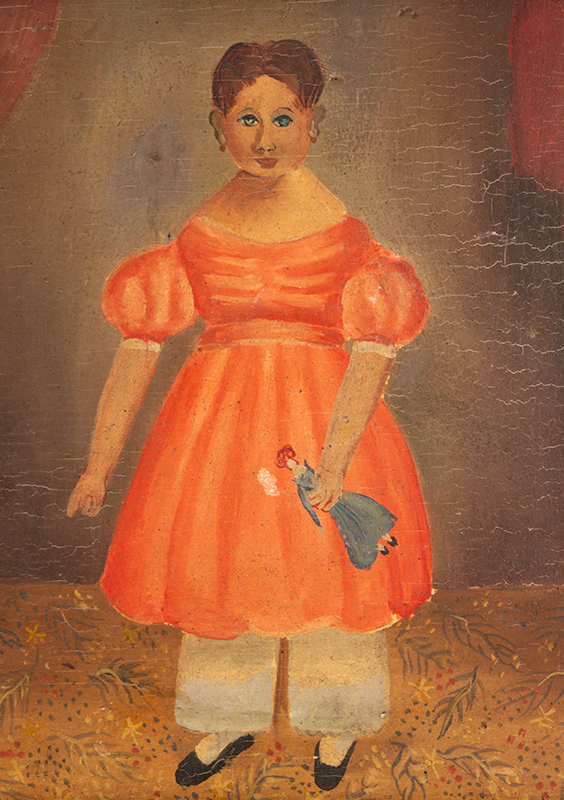 Antique Folk Portrait on Panel, Young Girl with Doll on Floor Cloth  Painted on pine panel within black painted frame, sans frame