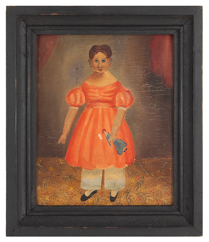 Antique Folk Portrait on Panel, Young Girl with Doll on Floor Cloth  Painted on pine panel within black painted frame, entire view