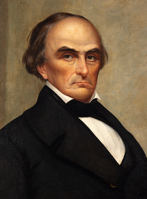 Portrait, Daniel Webster, Joseph Whiting Stock, 19th Century Oil on canvas, entire view sans frame