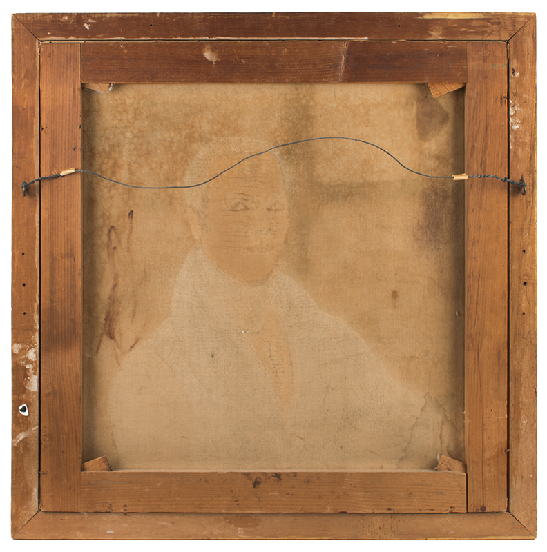 19th Century Folk Portrait, in Script on Frame is Found …Oliver Bourne, Kennebunkport, Maine, Oliver Bourne (1797-1881), back view